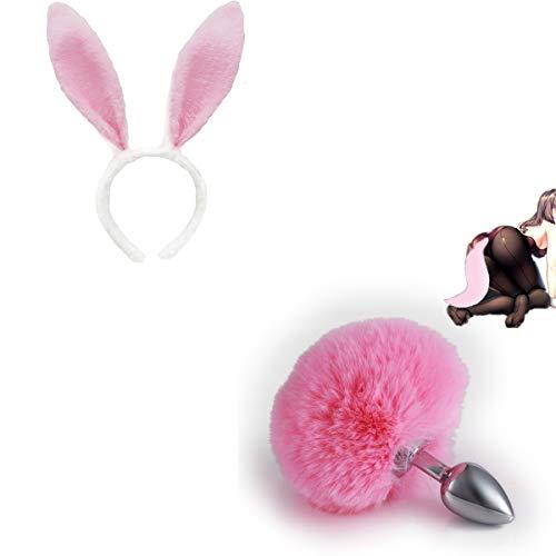 Accesorios para el entrenamiento suave de la cola de la bola del pelo peluda de la venda del odo accesorios para ella - L