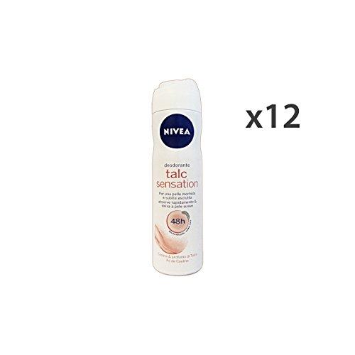 NIVEA Lot de 12 déodorants en spray Talc Sensation 150 ml. Soin du corps
