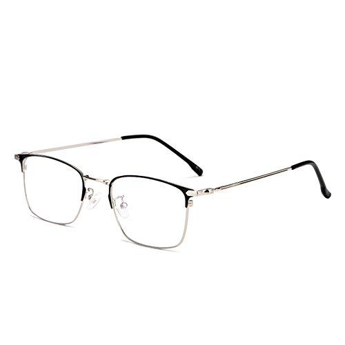 CAOXN Gafas De Lectura Ultraligeras De Titanio Puro Anti-Luz Azul, Óptica De Gafas De Hipermetropía Antifatiga De Múltiples Lentes De Resina HD De Enfoque,Black Silver,+2.00
