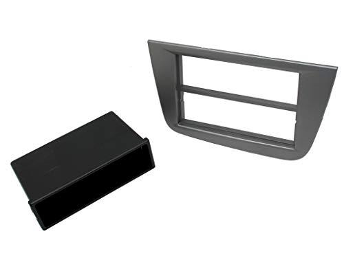 T1 Audio Seat Toledo Leon Façade d'autoradio pour Seat Toledo 99–2004 – Leon 00–2005 stéréo de voiture Kit de fixation – Façade autoradio simple DIN Noir, ISO Adaptateur d'antenne et clés de démontage