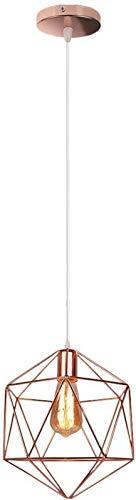 GYC Lámpara de araña de Oro Rosa de Metal Pantalla de iluminación de Techo Moderna, E27 Iluminación Colgante Jaula Lámparas de Techo Forma de Pantalla Iluminación de Metal de Diamante Decorati