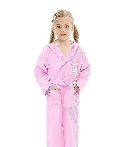 MEETEW Albornoz Para Niñas Pijamas Encantadores Batas De Algodón Acogedoras Para Niños Bata Con Capucha Absorbente Rosa Azul Blanco