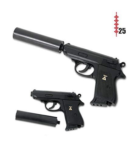 KarnevalsTeufel Schnellfeuerpistole mit Schalldämpfer Spielzeugpistole Agentenpistole Special Agent P99 Knarre Task Forsk