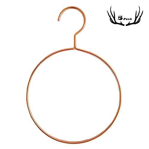 5 Stück Eisen rund Schal Kleiderbügel Wand montiert Handtuch Ring Gürtel Kleiderbügel Edelstahl Rose Gold Badezimmer Schlafzimmer Kleiderschrank Wohnzimmer