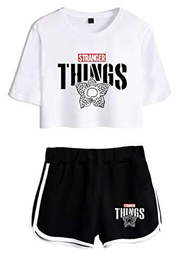 HUASON Stranger Things Camisetas Tops Shorts Verano Traje de Ropa Deportiva Casual para Niñas y Mujeres Top Corto Pantalón Corto
