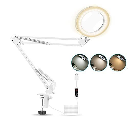 Lupe mit Licht, 5X Lupenlampe, 3 Farbmodi, Dimmbar, einstellbare Schwenkarm Leseleuchte mit Licht - mit Klemme, LED Lupen zum Lesen-5-fache Vergrößerung