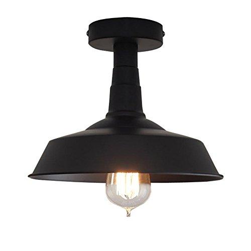 Verlichting Industriële Edison Semi Flush Mount Mini Vintage Plafondlamp (Lamp niet inbegrepen) Zwart
