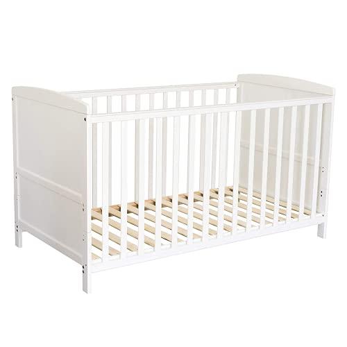Puckdaddy Babybett Mika – 140x70 cm, Umbau-Bett aus Holz in Weiß, höhenverstellbares Gitterbett mit herausnehmbaren Sproßen, auch zum Kinderbett umbaubar