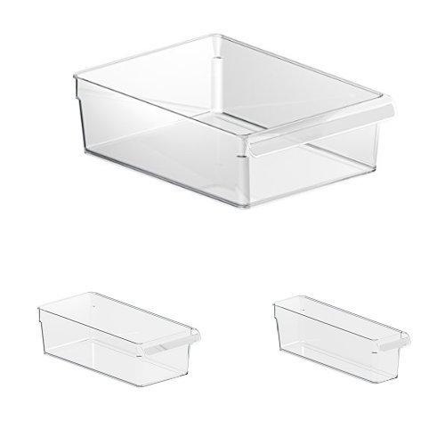 Rotho Loft Kühlschrank Organizer (Robuster Aufbewahrungsbehälter für Salat, Gemüse, Fleisch, Set bestehend aus 3 verschiedenen Grössen, 3er Set) Transparent