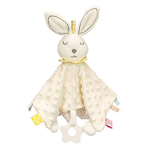 Baby Security Blanket with Tags Soft Plush Stuffed Animal Toys Lovey Soothing Sensory Toy Cute Minky Dot Fabric Cuddle Snuggle Blanket - White Bunny…