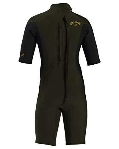 Billabong Boys' 2/2 Boy's Absolute Back Zip Flatlock Short Sleeve Spring Wetsuit Green 12