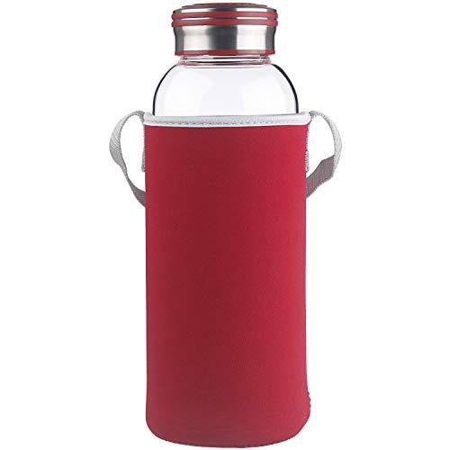 Cleesmil Trinkflasche Glas Wasserflasche mit Neoprenhülle Glasflasche 1500 ml /1.5 L (Rot)