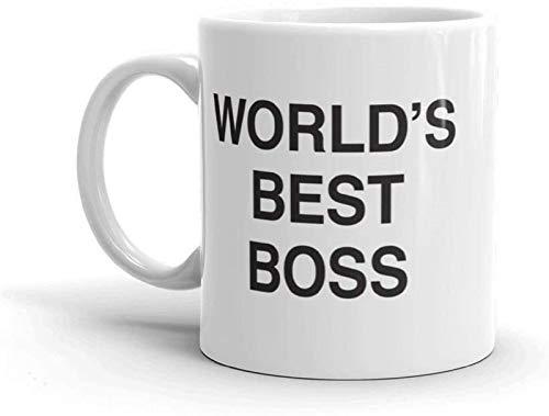 Taza de café con Dunder Mifflin, The Office-World's Best Boss-12 oz divertida taza de café y té de cacao taza de café única y idea de regalo para hombre/mujer/jefes/compañeros de trabajo (blanco)