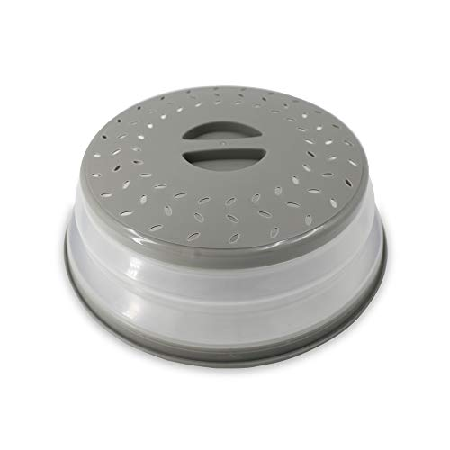 Appliance Pros APMICWACOVER 105quotAnti Splatter Pan Cover Microwave Food Cover Domed Microwave Cover Silicone Covers for Bowls Suitable for Lid Dish Dinner Plates Insulated Wares Round Grey