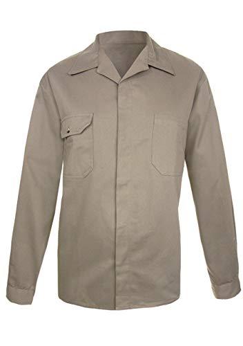 Camisolas para hombre Camisa de trabajo para hombre manga larga gabardina 100% algodón suave excelente textura con botones ocultos camisa industrial, color caqui o azul marino tallas mexicanas (Caqui, 40)