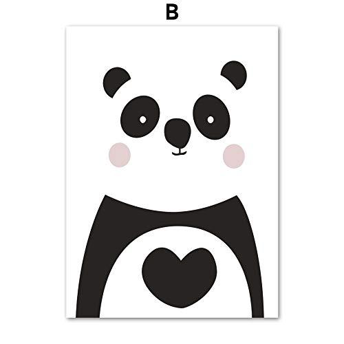 UIOLK Abstracto Colorido Anime Dibujos Animados Lindo Panda corazón Pared Arte Lienzo Pintura Cartel nórdico e impresión decoración de Pared Regalo Ideal