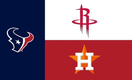 Houston Texas Teams Champions Logos Flag 3x5- With Grommets Rockets, Texans, Astros