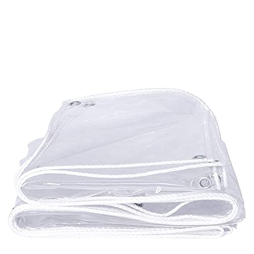 Tarpaulin Transparent tarpaulin waterproof PVC transparent film with eyelets, tearproof Window film Fabric tarpaulin Boat tarpaulin, rainproof awning(0.35mm/400g/㎡
