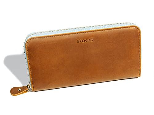 skaard Geldbörse Damen Echt-Leder mit RFID-Schutz, groß in Braun/Eisblau