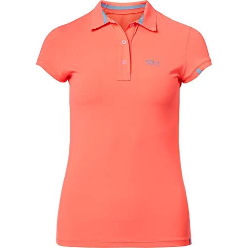 SPORTKIND T-Shirt Polo pour Tennis/Golf/Sport pour Filles et Femmes, Orange Fluo, Taille 5 Ans (116)