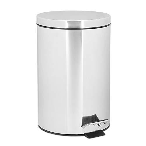 Relaxdays Treteimer 7 L aus Edelstahl H x D: 35 x 26 cm Abfalleimer in Metall-Optik als Abfallbehälter und Tretmülleimer für Küche und als Kosmetikeimer im Bad Tretmülleimer, silber