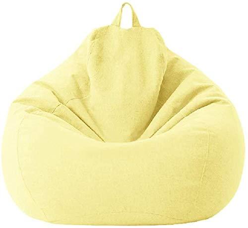 MeButy Puf grande con respaldo alto, para adultos y niños, color amarillo claro