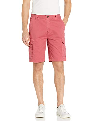 """Amazon Essentials Men's Classic-Fit 10"""" Cargo Short, Washed Red, 33"""