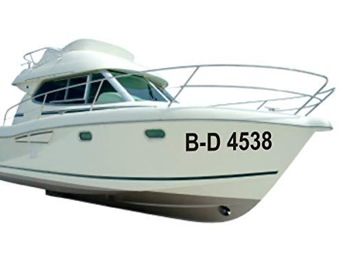 Shirtstown Bootskennzeichen Bootsnummer Bootbeschriftung, selbsklebende Folie, vers. Größen für Boote, GFK, Segelboote, Angelkahn, Kajak, Ruderboot, Aufkleber 2 Kennzeichen, Höhe 10cm, Farbe Schwarz