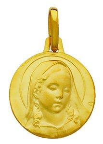 Virgen de Boticelli-Medalla religiosa-oro amarillo 18quilates-Diámetro 15mm-www.diamants-perles.com