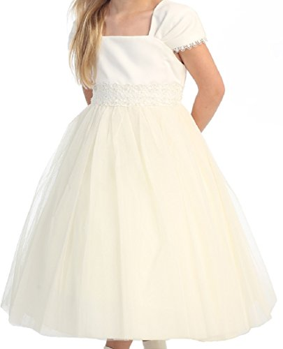 Flower Girl Cap Sleeved Beaded White Dress First Holy Communion Size 2-16 (14, Ivory)