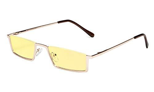 Eyekepper Blau Lichtt Blockierung Brille Halbrand Computer Lesebrillen Gelb Getönte Linse Lesebrille (Gold, 1.25)