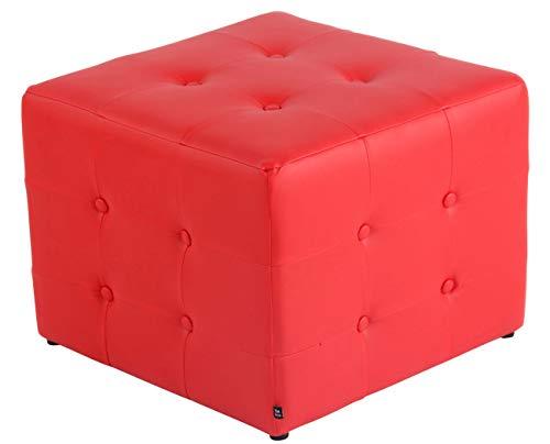 CLP Sgabello Pouf Cubic In Similpelle I Cubo Poggiapiedi Imbottito Chesterfield Cubico Salotto I Puff Divano Con Piedini, Colore:rosso