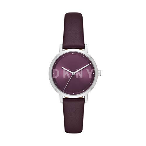 Dkny NY2843 Reloj Analogo con Correa Piel, Caratula para Dama, color Morado, talla Estándar