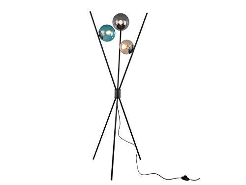 Opvallende led-vloerlamp met drie glazen ballen (rookkleurig/kleurrijk) & voetschakelaar