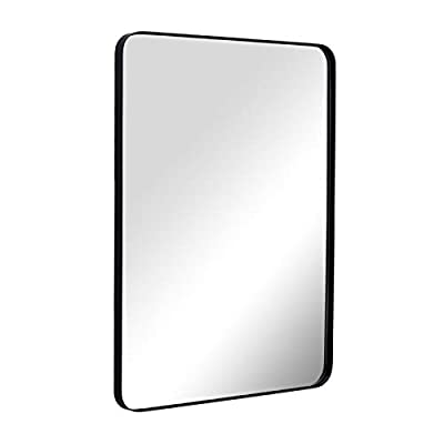 """ANDY STAR Wall Mirror for Bathroom, 22""""x 30"""" Black Bathroom Mirror in Metal Frame, Rounded Corner Rectangle Mirror, Glass Panel Hangs Horizontal Or Vertical - Premium Wall Mirror for Home: This timeless metal rectangle round corner large mirror matches any room and any decor perfectly. Use as a black bathroom mirror, black vanity mirror, or entry mirror. Add light and enhance the beauty of any room in your home instantly! Perfect Bathroom Mirror: This 22 x 30 inch large mirror is the ideal size for a bathroom. The black metal frame adds elegance and class. The rounded edges lend a softness to the design. The polished mirror is presenting a beautiful reflection without any distortion of visual, and premium MDF backing prevents corrosion in humid environments,make it perfect for bathroom. Reflective Mirrors for Wall: Safety backing strengthens the glass surface making it less susceptible to breakages. The reflective glass is a brilliant choice for home walls because of the clean look. - mirrors-bedroom-decor, bedroom-decor, bedroom - 31XdVkeggBL. SS400  -"""