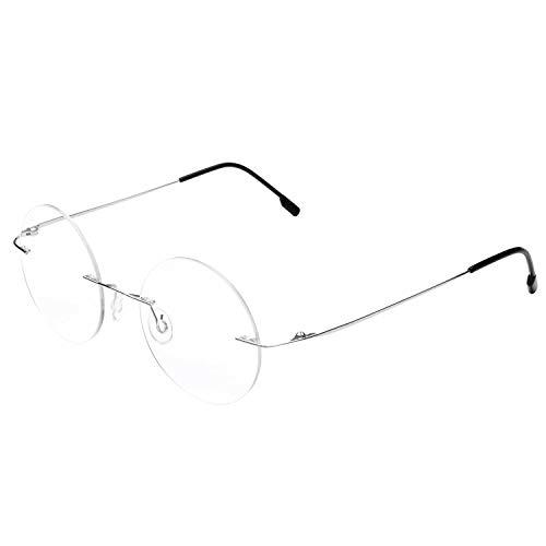Gafas de lectura redondas sin montura Gafas de lectura ligeras de titanio Hombres Mujeres +1.50 Aumento
