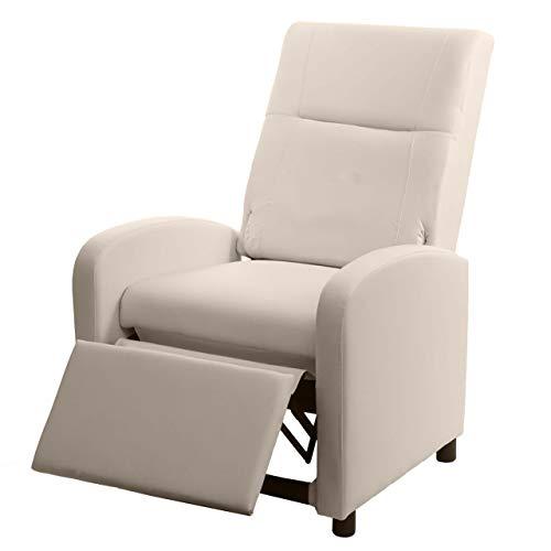 Mendler Fernsehsessel HWC-H18, Relaxsessel Liege Sessel, Kunstleder klappbar 99x70x75cm ~ Creme