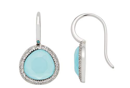 Jewels by Leonardo Damen-Ohrhänger Andria, Edelstahl mit türkisfarbenen Glas-Steinen, Größe (B/H/T): 13/24/11 mm, 016867