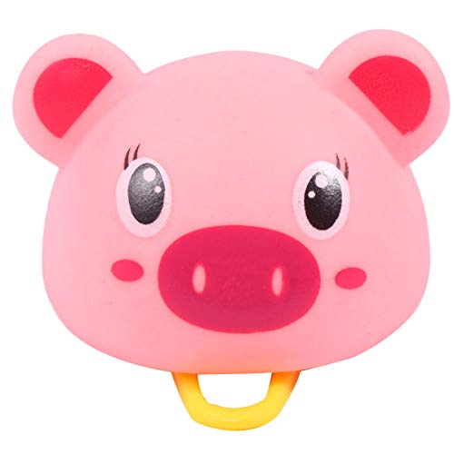 CLISPEED Caballete infantil para bicicleta, campana, cuerno de dibujos animados, animal, cerdo, luces para niños, niñas, jóvenes, adultos, manillar, decoración, accesorios para bicicleta