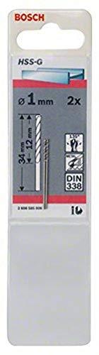 Bosch Professional Metallbohrer HSS-G geschliffen (2 Stück, Ø 1 mm)