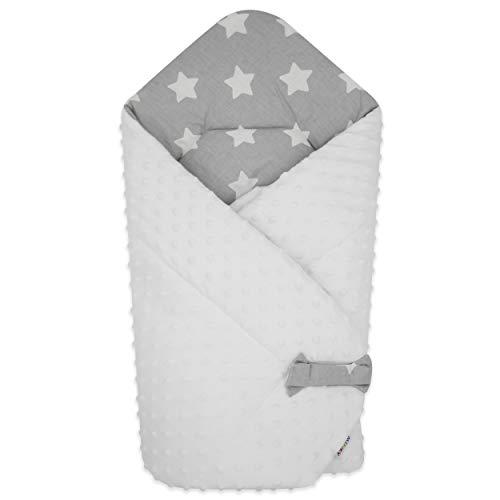 BlueberryShop Minky Fleece Baby Swaddle Wrap Dekbedovertrek | Slaapzak voor pasgeborenen met twee zijdes | Bestemd voor kinderen 0-3 maanden | Perfect als babydouchegeschenk | 75 x 80 cm | Grijs-wit