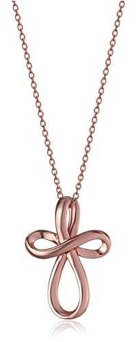 """Rose Gold-Plated Sterling Silver Open Loop Cross Pendant Necklace, 18"""""""