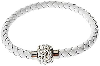 Tanonbuy @PU Leather Bracelet with Crystal Disco Ball Magnetic Clasp (White)