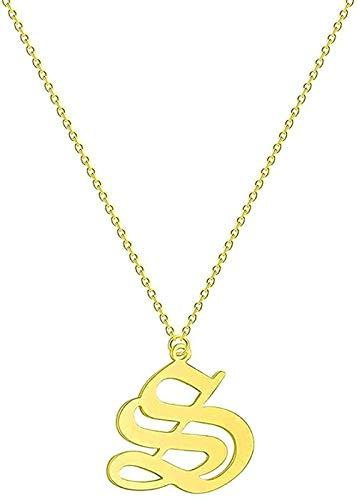 Yiffshunl Collar con Letras para Parejas, Hombres, Mujeres, Nombre Inicial, Acero Inoxidable, Oro Rosa, Collares de Amistad étnica, Regalo