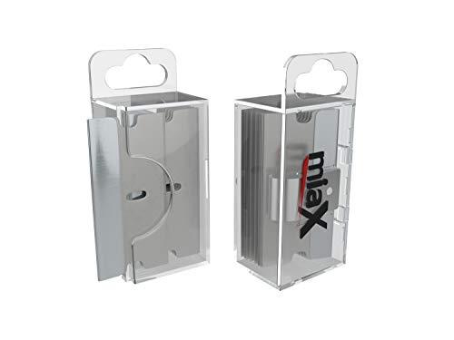 miaX Premium Ersatzklingen für Ceranfeldschaber 10er Set – 10 Klingen in praktischer Box mit Spenderfunktion für Glasschaber – 10 hochwertige Edelstahlklingen für Kochfeldschaber