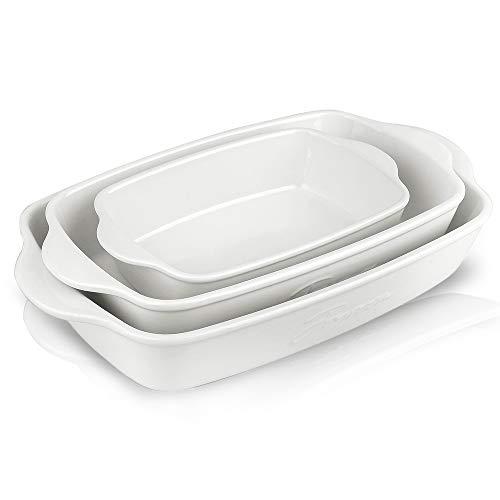 Joyroom Bakeware Set, Ceramic Baking Dish, Rectangular Baking Pans for Cooking, Cake Dinner, Kitchen, 9 x 13 Inches, Letter Collection Set of 3 (White)