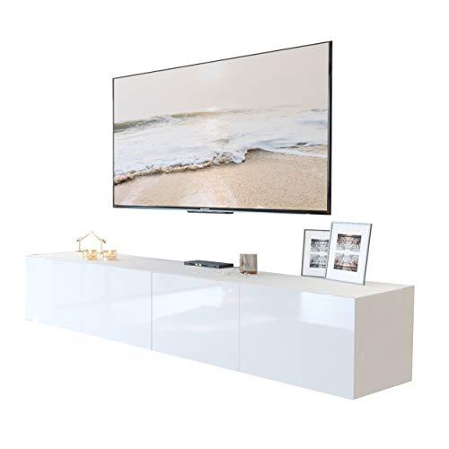 Colgante 200 TV-Schrank Hängeschrank Weiß HochglanzHG Fernsehschrank mit LED Beleuchtung und Push to Open System TV- Bank Sideboard Lowboard Wohnwand Wohnzimmer