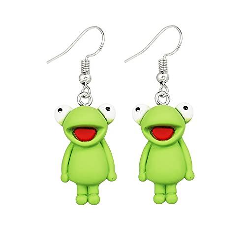 Sttiafay Orecchini pendenti a forma di rana verde creativi, orecchini pendenti a forma di rana, per donne e bambini, idea regalo