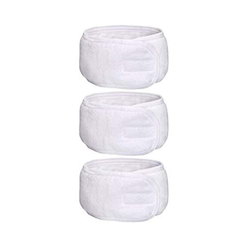 Frcolor Haarband für Make Up /verstellbare SPA Stirnband mit Klettverschluss 3pcs (weiß)