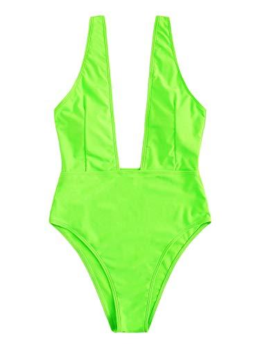 SweatyRocks Sexy Badeanzug für Damen, tiefer V-Ausschnitt, hohe Taille, Bademode, offener Rücken, Einteiler - Mehrfarbig - Large